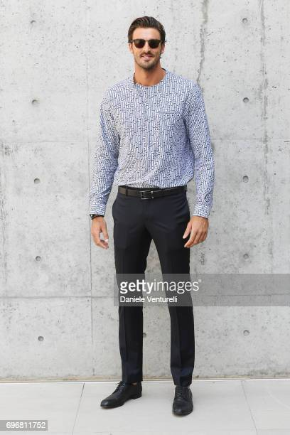 4b3f99c9b99 Alex Ranghieri attends the Emporio Armani show during Milan Men s Fashion  Week Spring Summer 2018