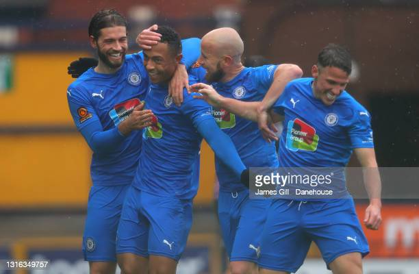 Alex Reid of Stockport County celebrates with team mates after scoring their second goal during the Conference Premier match between Stockport County...