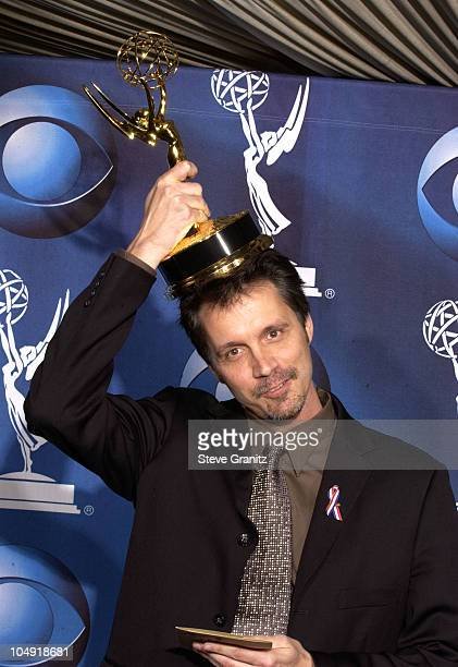 Alex Reid shows the Emmy for Best Writing in a Comedy Series for his work on Fox's Malcolm in the Middle