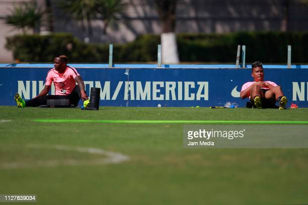 Alex Renato Ibarra and Roger Martinez of America warm up during the Club America training session at Club America facilities on February 6 2019 in...