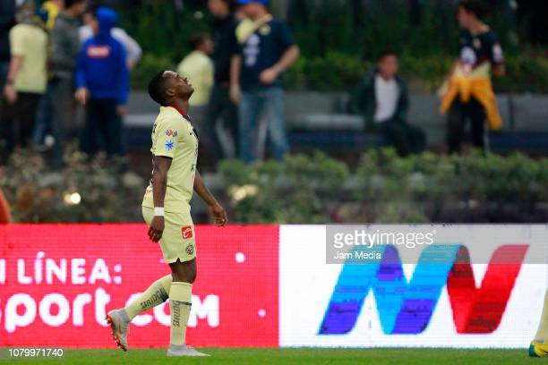 Alex Renato Ibarra of America celebrates after scoring the first goal of his team during the semifinal second leg match between America and Pumas...