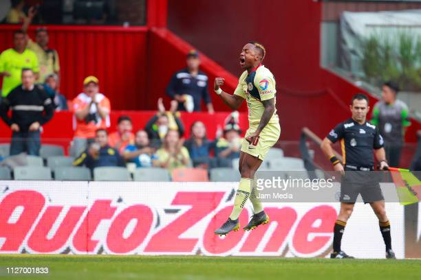 Alex Renato Ibarra of America celebrates after scoring the first goal during the fifth round match between America and Pachuca as part of the Torneo...