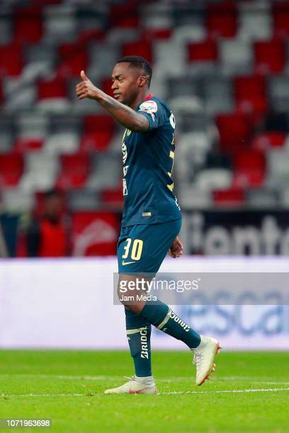 Alex Renato Ibarra of America celebrates after scoring the fourth goal of his team during the 17th round match between America and Veracruz as part...