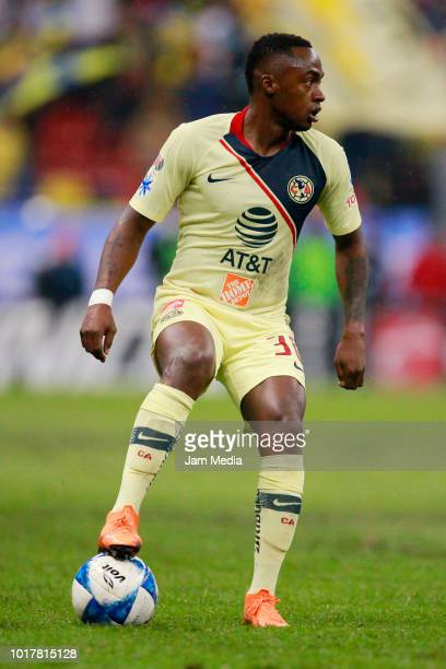 Alex Renato Ibarra of America drives the ball during the fourth round match between Club America and Monterrey as part of the Torneo Apertura 2018...