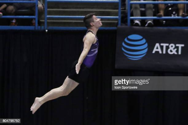 Alex Renkert lays out on his tumbling run during the USA Gymnastics Championships at the BMO Harris Bradley Center on June 29 2017 in Milwaukee WI