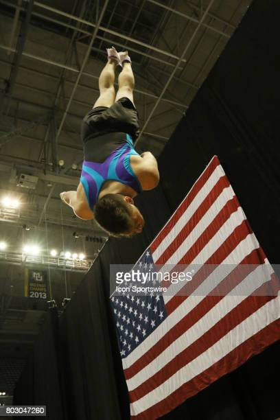 Alex Renkert makes his last flip during practice time at the USA Gymnastics Championships on June 28 2017 at the BMO Harris Bradley Center in...