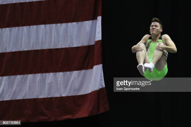 Alex Renkert performs a routine on the doublemini during the USA Gymnastic Championships at the BMO Harris Bradley Center on July 1 2017 in Milwaukee...