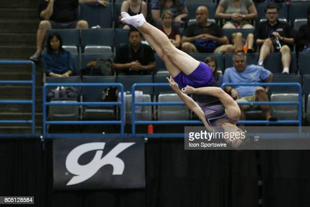 Alex Renkert spins toward his dismount from the doublemini during the USA Gymnastic Championships at the BMO Harris Bradley Center on June 30 2017 in...