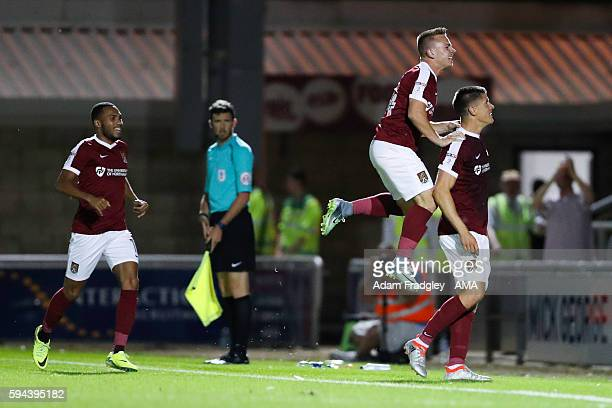 Alex Revell of Northampton Town celebrates after scoring a goal to make it 22 during the EFL Cup fixture between Northampton Town and West Bromwich...