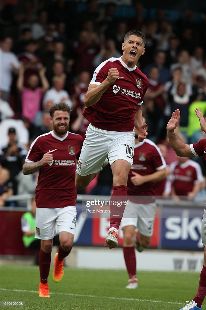 Alex Revell of Northampton Town celebrates after scoring his sides third goal from the penalty spot during the Sky Bet League One match between Northampton Town and Southend United at Sixfields on September 24, 2016 in Northampton, England.