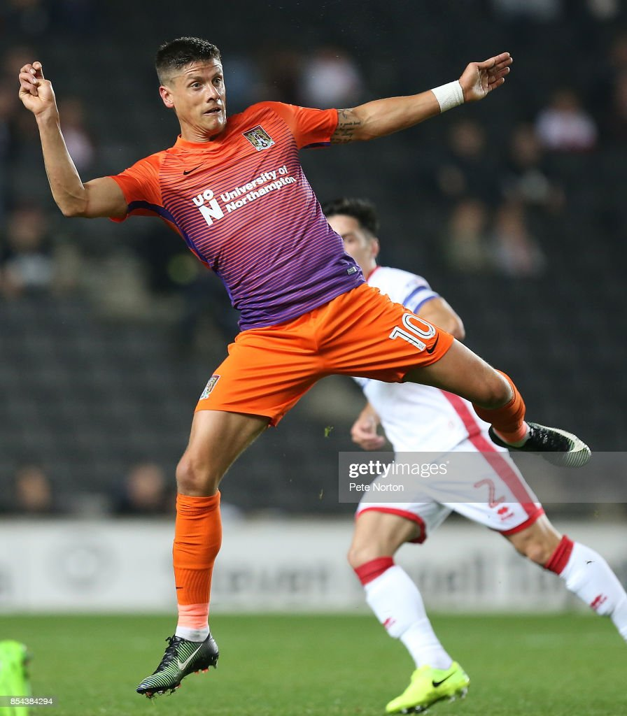 Alex Revell of Northampton Town in action during the Sky Bet League One match between Milton Keynes Dons and Northampton Town at StadiumMK on September 26, 2017 in Milton Keynes, England.