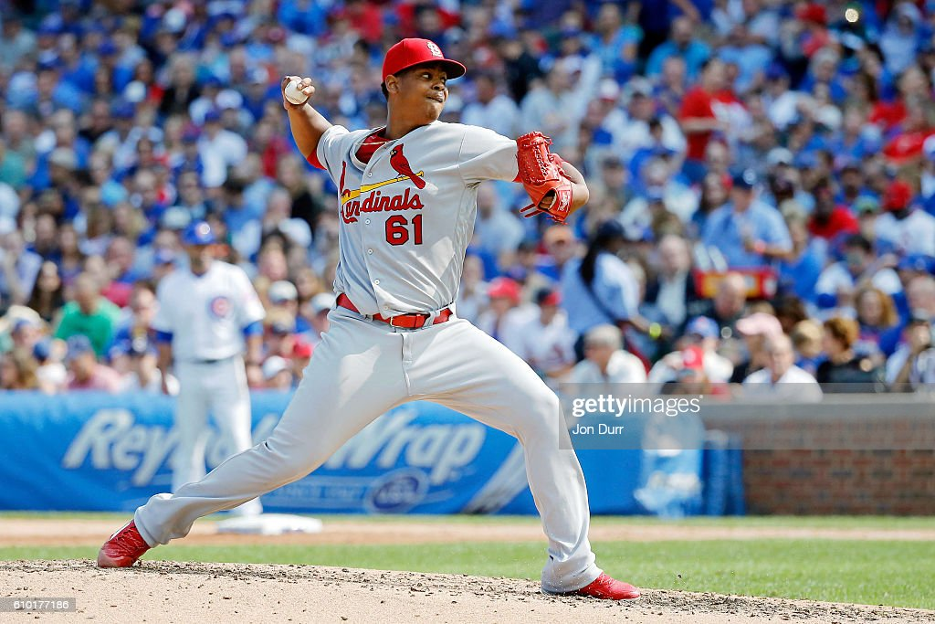 Alex Reyes #61 of the St. Louis Cardinals against the Chicago Cubs during the fifth inning at Wrigley Field on September 24, 2016 in Chicago, Illinois.