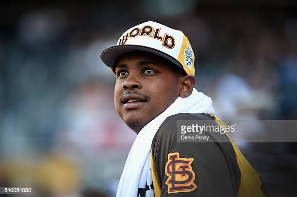 Alex Reyes of the St Louis Cardinals and the World Team looks on during the SiriusXM AllStar Futures Game at PETCO Park on July 10 2016 in San Diego...