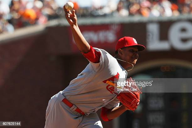 Alex Reyes of the St Louis Cardinals delivers the pitch during the fourth inning against the San Francisco Giants at ATT Park on September 18 2016 in...