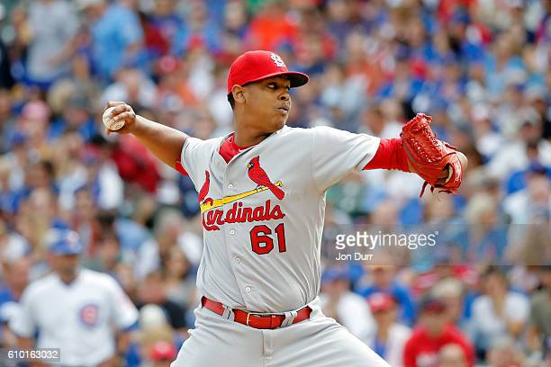 Alex Reyes of the St Louis Cardinals pitches against the Chicago Cubs during the first inning at Wrigley Field on September 24 2016 in Chicago...