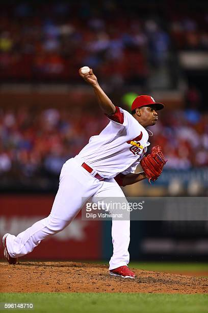 Alex Reyes of the St Louis Cardinals pitches against the New York Mets at Busch Stadium on August 23 2016 in St Louis Missouri