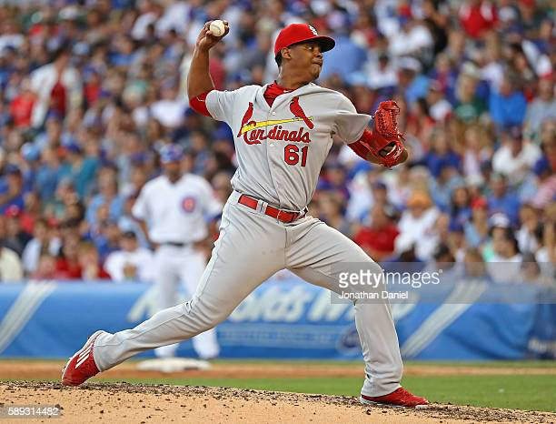Alex Reyes of the St Louis Cardinals pitches in the 4th inning against the Chicago Cubs at Wrigley Field on August 13 2016 in Chicago Illinois