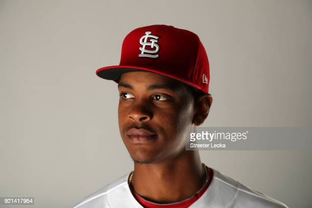 Alex Reyes of the St Louis Cardinals poses for a portrait at Roger Dean Stadium on February 20 2018 in Jupiter Florida