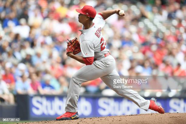 Alex Reyes of the St Louis Cardinals throws a pitch during the first inning of a game against the Milwaukee Brewers at Miller Park on May 30 2018 in...