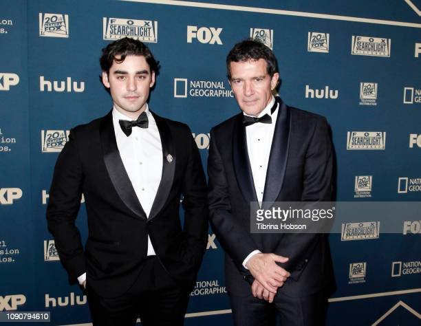 Alex Rich and Antonio Banderas attend the FOX FX and Hulu 2019 Golden Globe Awards after party at The Beverly Hilton Hotel on January 06 2019 in...