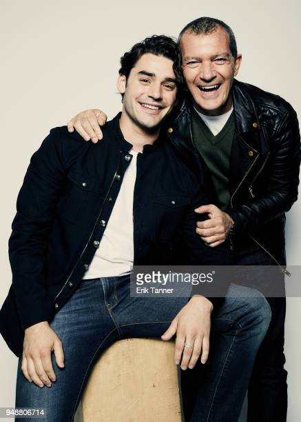 Alex Rich and Antonio Banderas of the series Genius Picasso pose for a portrait during the 2018 Tribeca Film Festival at Spring Studio on April 19...