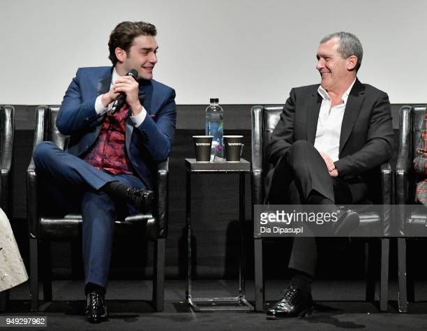 Alex Rich and Antonio Banderas speak onstage at the 'Genius Picasso' premiere during the 2018 Tribeca Film Festival at BMCC Tribeca PAC on April 20...