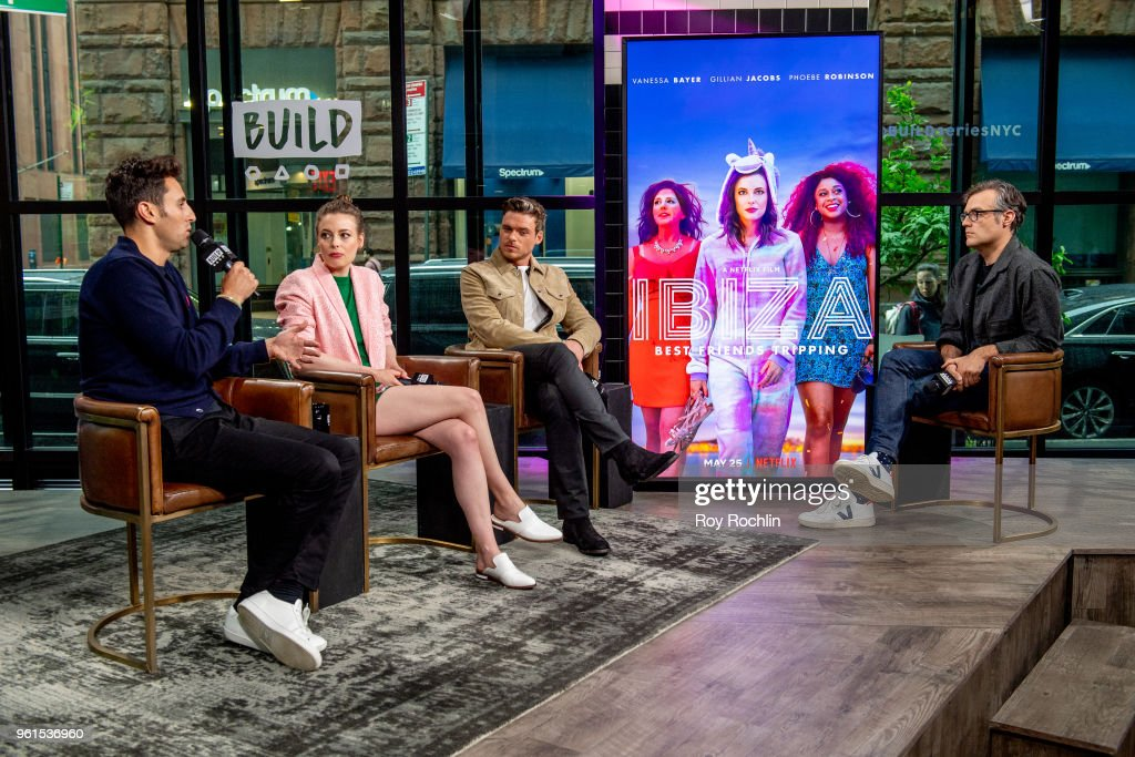 Alex Richanbach, Gillian Jacobs and Richard Madden discuss 'Ibiza' with the Build Series at Build Studio on May 22, 2018 in New York City.