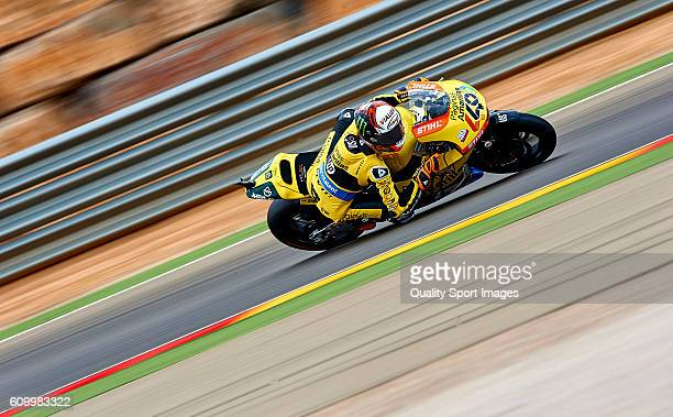 Alex Rins of Paginas Amarillas HP 40 Team in action during the MotoGP of Spain Free Practice at Motorland Aragon Circuit on September 23 2016 in...