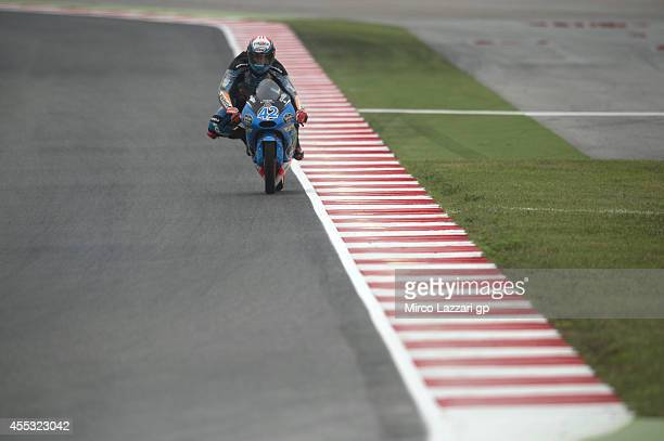 Alex Rins of Spain and Estrella Galicia 00 heads down a straight during the MotoGP of San Marino Free Practice at Misano World Circuit on September...