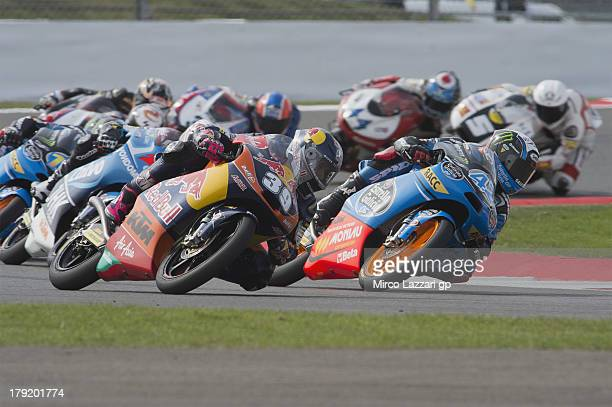 Alex Rins of Spain and Estrella Galicia 0'0 leads the field during the Moto3 race during the MotoGp Of Great Britain - Race at Silverstone Circuit on...