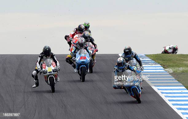 Alex Rins of Spain and Estrella Galicia 0'0 leads the field during the Moto3 race ahead of the Australian MotoGP which is round 16 of the MotoGP...