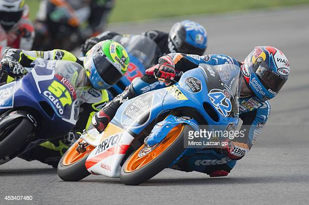 Alex Rins of Spain and Estrella Galicia 00 leads the field during the MotoGp Red Bull US Indianapolis Grand Prix Qualifying at Indianapolis Motor...