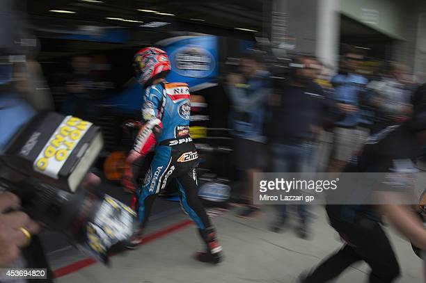 Alex Rins of Spain and Estrella Galicia 00 returns in box during the qualifying practice during MotoGp of Czech Republic Qualifying at Brno Circuit...