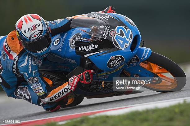 Alex Rins of Spain and Estrella Galicia 00 rounds the bend during the qualifying practice during MotoGp of Czech Republic Qualifying at Brno Circuit...