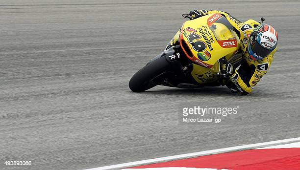 Alex Rins of Spain and Pagina Amarillas HP40 rounds the bend during the MotoGP Of Malaysia Free Practice at Sepang Circuit on October 23 2015 in...