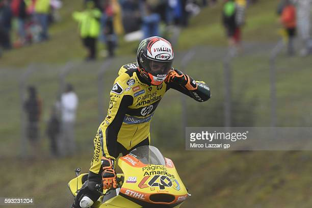 Alex Rins of Spain and Paginas Amarillas HP40 celebrates the second place at the end of the Moto2 race during the MotoGp of Czech Republic Race at...