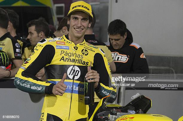 Alex Rins of Spain and Paginas Amarillas HP40 celebrates the third place at the end of the qualifying practice during the MotoGp of Qatar Qualifying...