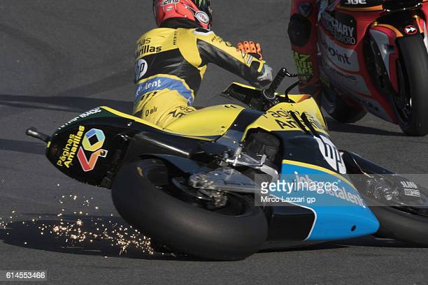 Alex Rins of Spain and Paginas Amarillas HP40 crashed out during the MotoGP of Japan Free Practice at Twin Ring Motegi on October 13 2016 in Motegi...
