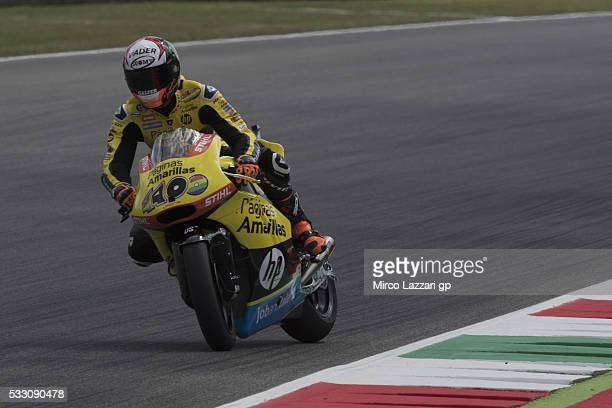 Alex Rins of Spain and Paginas Amarillas HP40 heads down a straight during the MotoGp of Italy Free Practice at Mugello Circuit on May 20 2016 in...