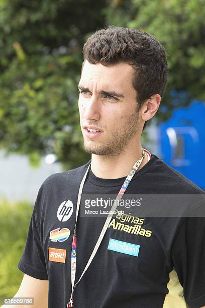 Alex Rins of Spain and Paginas Amarillas HP40 looks on in paddock during the MotoGP Of Malaysia Preview at Sepang Circuit on October 27 2016 in Kuala...