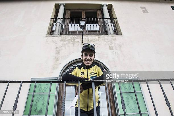Alex Rins of Spain and Paginas Amarillas HP40 poses for photographers during the preevent 'MotoGp riders couldnÕt resist to eat a tasty tagliata alla...