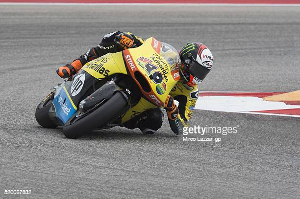 Alex Rins of Spain and Paginas Amarillas HP40 rounds the bend during the MotoGp Red Bull US Grand Prix of The Americas Qualifying at Circuit of The...