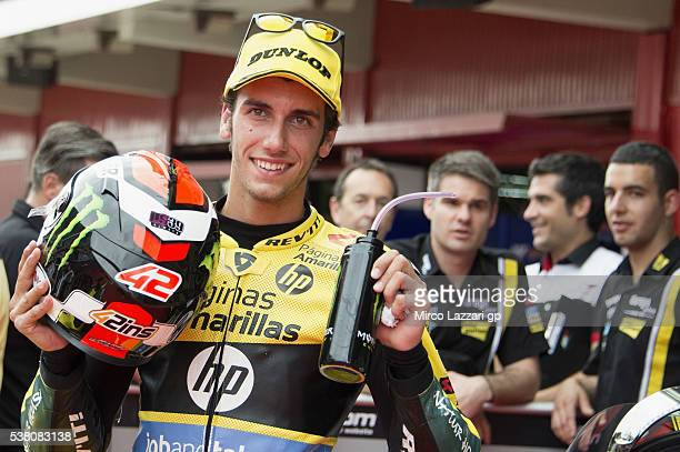 Alex Rins of Spain and Paginas Amarillas HP40 smiles at the end of the qualifying practice during the MotoGp of Catalunya Qualifying at Circuit de...