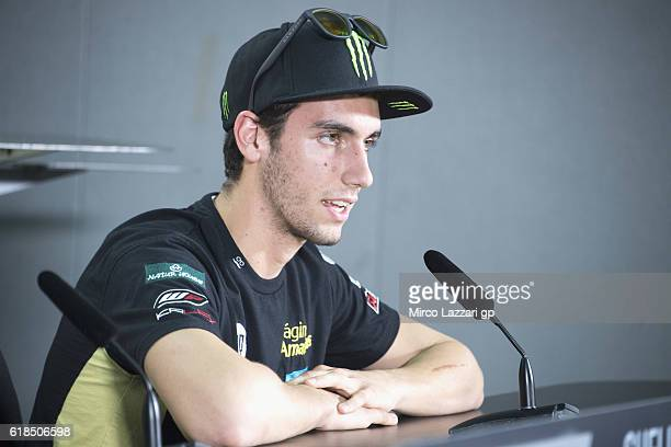 Alex Rins of Spain and Paginas Amarillas HP40 speaks during the Moto2 press conference during the MotoGP Of Malaysia Preview at Sepang Circuit on...