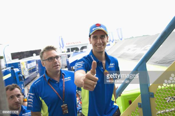 Alex Rins of Spain and Team Suzuki ECSTAR arrives and greets at the press conference preevent during the MotoGP Netherlands Preview on June 22 2017...