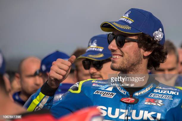 Alex Rins of Spain and Team Suzuki ECSTAR celebrates at the end of the qualifying practice during the MotoGP Of Valencia Qualifying at Ricardo Tormo...