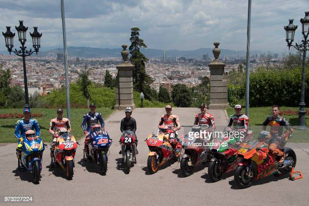 Alex Rins of Spain and Team Suzuki ECSTAR Dani Pedrosa of Spain and Repsol Honda Team Maverick Vinales of Spain and Movistar Yamaha MotoGP Salvador...