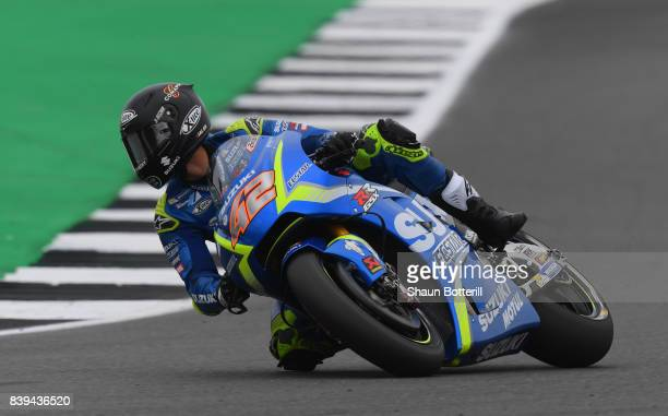 Alex Rins of Spain and Team Suzuki Ecstar during Free Practice 3 at Silverstone Circuit on August 26 2017 in Northampton England