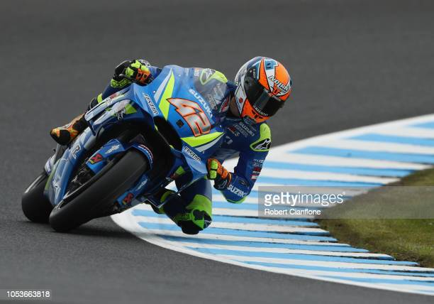 Alex Rins of Spain and Team Suzuki ECSTAR during free practice for the 2018 MotoGP of Australia at Phillip Island Grand Prix Circuit on October 26...