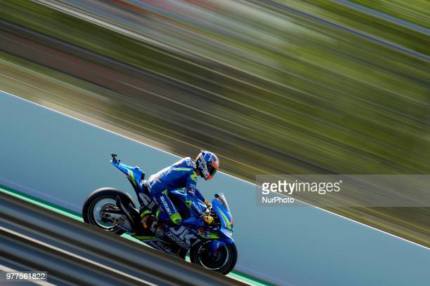 Alex Rins of Spain and Team Suzuki Ecstar during the race day of the Gran Premi Monster Energy de Catalunya Circuit of Catalunya Montmelo Spain 17th...